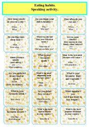 English Worksheet: Eating habits and food. Speaking cards.