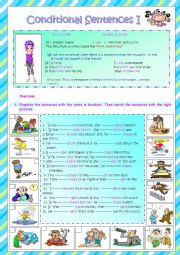 English Worksheet: conditional sentences I