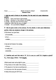 English Worksheet: Frequency Adverbs/Subject-Verb agreement