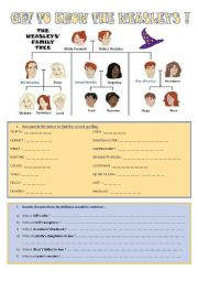 English Worksheet: Get to know the Weasleys!