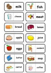 English Worksheet: food, domino