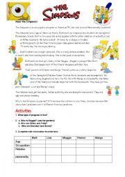 English Worksheet: The Simpsons family + keys