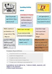 English Worksheet: speaking activity about superstitions