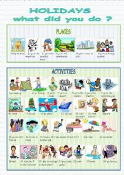 Vocabulary worksheet to talk about summer holidays