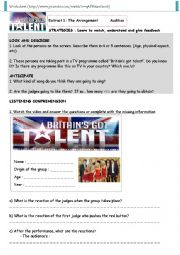 English Worksheet: Britain�s Got Talent_Listening Comprehension