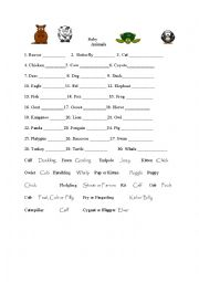English Worksheet: Baby and Mama Animals matching