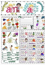 English Worksheet: a or an