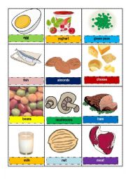 proteins- food memory cards / flash cards