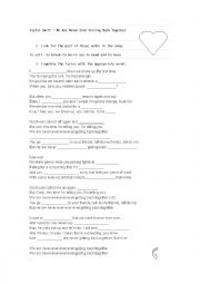 English Worksheet: we are never ever getting back together