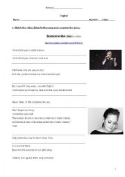 English Worksheet: Someone like you by Adele