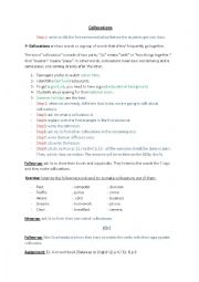 English worksheet: Collocations