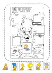 English Worksheet: The simpsons family tree. Cut and paste the pictures.
