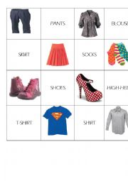 English Worksheet: CLOTHES MEMO GAME