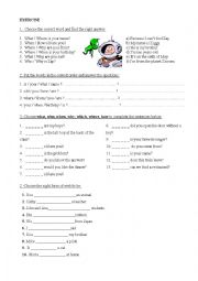 English Worksheet: Verb to be and wh- questions, exercises