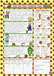 English Worksheet: Kids and their favourite food (+Key)