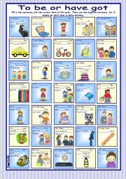 English Worksheet: To be or have got 2* 35 pictures & sentences * with key