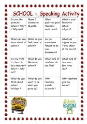 English Worksheet: SCHOOL - speaking activity