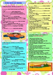 English Worksheet: To be & have got: review (+ key)