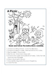 English Worksheet: A picnic colour