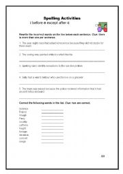 English Worksheet: Spelling rules- i before e except after c
