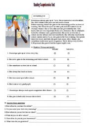 English Worksheet: Reading comprehension test:Daily routine