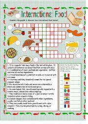 English Worksheet: International Food