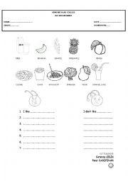 English Worksheet: Foods I like