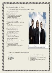 English Worksheet: everybody�s changing by keane (lily allen)