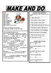 English Worksheet: MAKE AND DO - ANSWER KEY INCLUDED