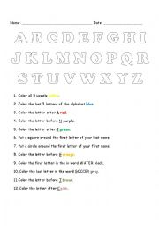 English Worksheet: ABC Color Activity - with prepositions before, after, first and last