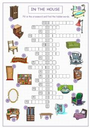 English Worksheet: In the House Crossword Puzzle