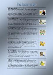 English Worksheet: Zodiac Signs Characteristics