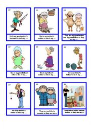 English Worksheet: Family card guessing game