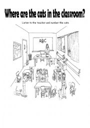 English Worksheet: Where are the cats? (in the classroom - preposirions)