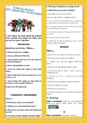 English Worksheet: ICEBREAKER- SCHOOL IS BACK. GET ADDICTED TO ENGLISH!