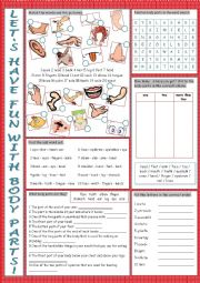 English Worksheet: Body Parts Vocabulary Exercises