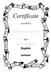 certificate of achievement - COLOURS