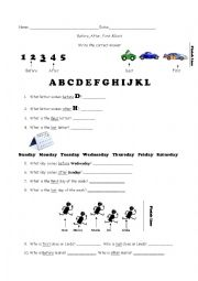 English Worksheet: Before, After, First & Last