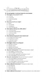 English Worksheet: Conditionals (zero, first, second and third)