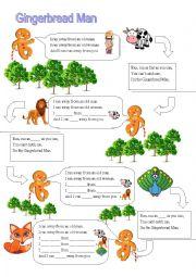 English Worksheet: gingerbread man