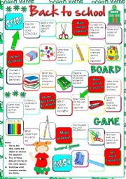 English Worksheet: Back to school - board game