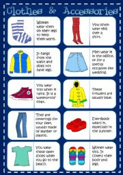 English Worksheet: Clothes - dominoes