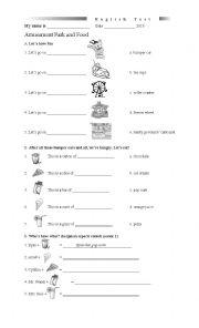 English Worksheet: Amusement Park and food