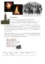 English Worksheet: Bonfire Night Guy Fawkes