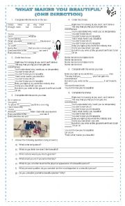 English Worksheet: WHAT MAKES YOU BEAUTIFUL (ONE DIRECTION)