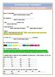 English Worksheet: HELLO TEACHER!!! - Introducing Yourself to your New Teacher