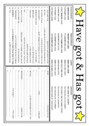 English Worksheet: Have & Has got 2 pages