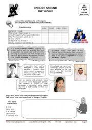 English Worksheet: english around the world