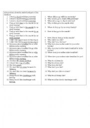 English Worksheet: Questions about different parts of speech