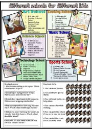 English Worksheet: different schools for different students